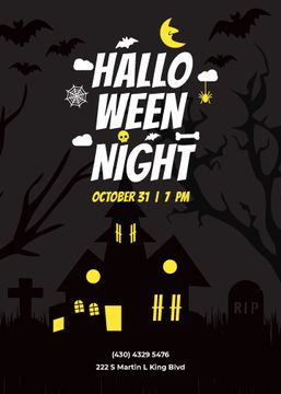 Halloween Party invitation with scary house