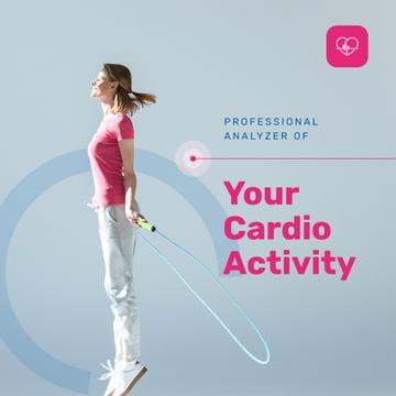 Sports App ad Woman jumping on Skipping Rope