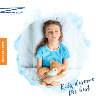Girl with teddy bear in hospital