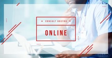 Online Consultation Ad Thoughtful Doctor in Clinic