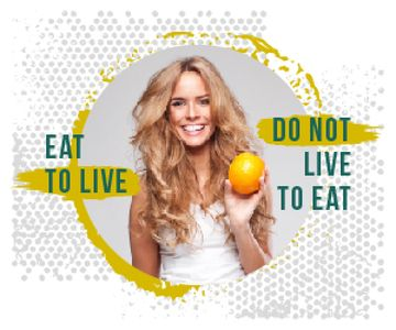 Nutrition Quote Smiling Woman Holding Orange