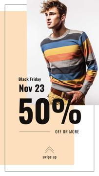 Black Friday Sale Handsome man in casual clothes