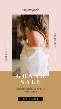 Sale Ad Young attractive woman