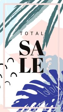 Sale Announcement Frame Leaves in Tropical Forest