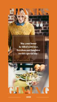Woman preparing Thanksgiving feast