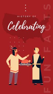 Indian and Pilgrim celebrating thanksgiving