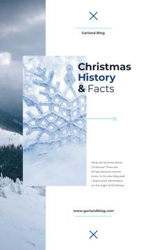 Snowflake and mountains view on Christmas