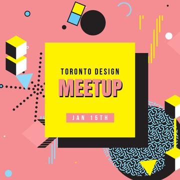 Design Meetup Announcement with Simple icons pattern
