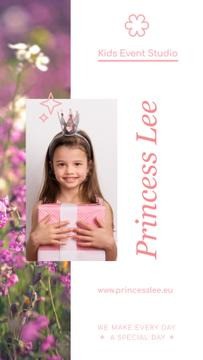 Birthday Celebration with Child Girl Holding Gift