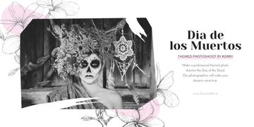 Girl in Dia de los muertos mask