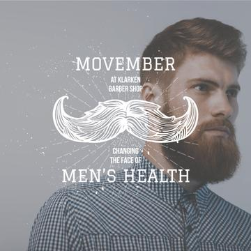 Man with mustache and beard for Movember
