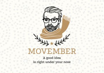 Movember Announcement with Man with moustache and beard in Scarf