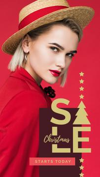 Christmas Sale Woman in red clothes