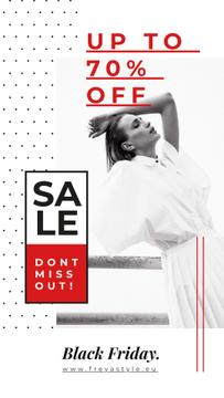 Black Friday Ad Young woman in white clothes