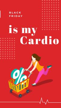 Black Friday Ad Woman pushing shopping cart