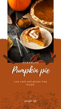 Baked pumpkin pie on Thanksgiving
