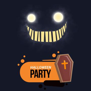 Halloween Party with Scary glowing ghost