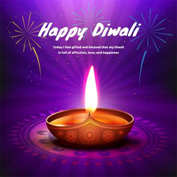 Happy Diwali celebration with lamp