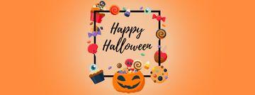 Halloween pumpkin lantern and sweets