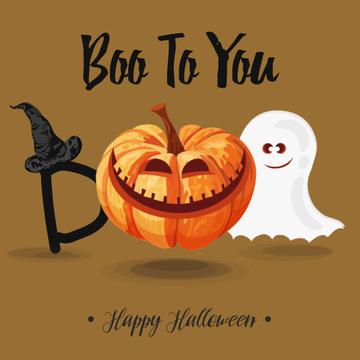 Halloween pumpkin Lantern and Ghost