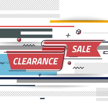 Sale Offer with Ribbon with lines and icons