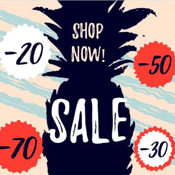 Sale Announcement with Pineapple fruit silhouette