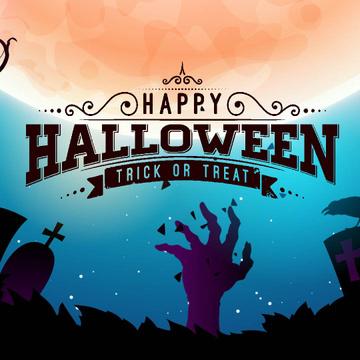 Halloween with Creepy zombie hand on graveyard
