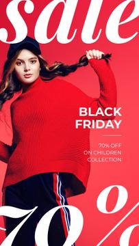 Black Friday Sale Woman Wearing Red Clothes
