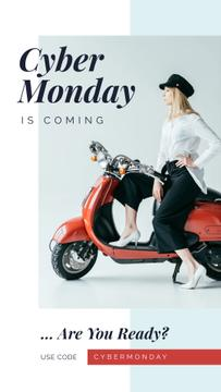Cyber Monday Sale Stylish girl on retro scooter