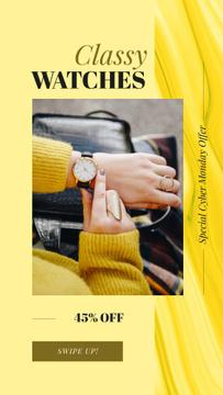 Watch on female wrist