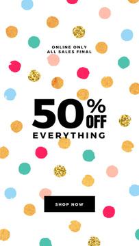 Sale Announcement with Bright and Shinny Confetti