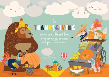 Animals celebrating Thanksgiving