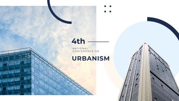 Urbanism Conference Advertisement with Modern Skyscrapers