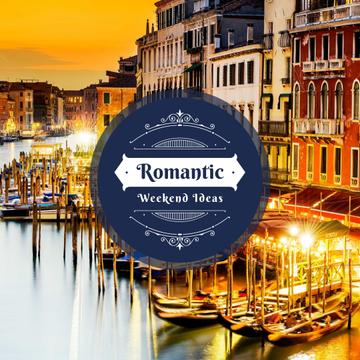 Venice city view with gondolas