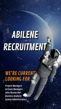 Hiring Offer Astronaut Waving in Outer Space