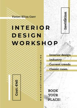 Design Workshop ad on geometric pattern
