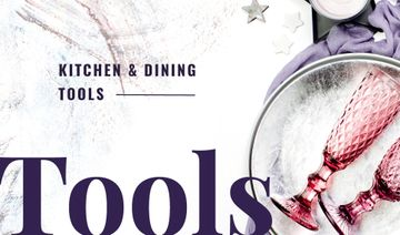 Kitchen Tools with Pink Champagne Glasses