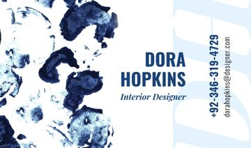 Interior Designer Contacts with Ink Blots in Blue