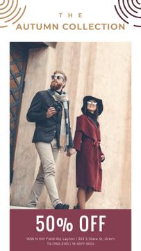Autumn Sale Ad with Stylish Couple on Street