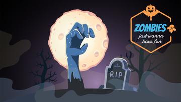 Creepy zombie hand on graveyard