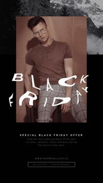 Black Friday Sale with Stylish Young Man