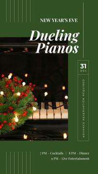 Christmas wreath on piano