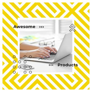 Woman typing on laptop in yellow