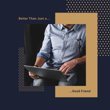 Man Typing on Laptop in Blue