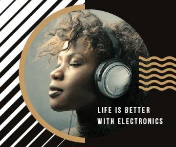 Electronics Ad Woman Listening Music in Headphones