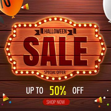 Halloween sale badge with balloons