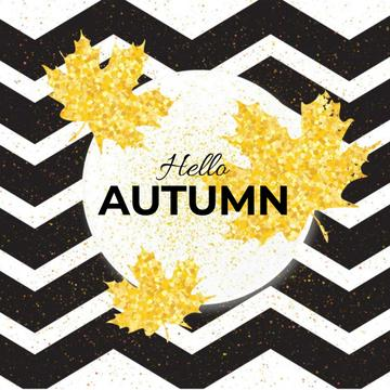 Zigzag pattern with falling leaves
