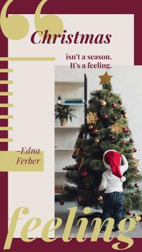 Kid decorating Christmas tree