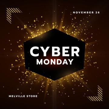 Cyber Monday with Burst of yellow light