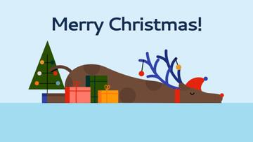 Christmas deer sleeping by presents